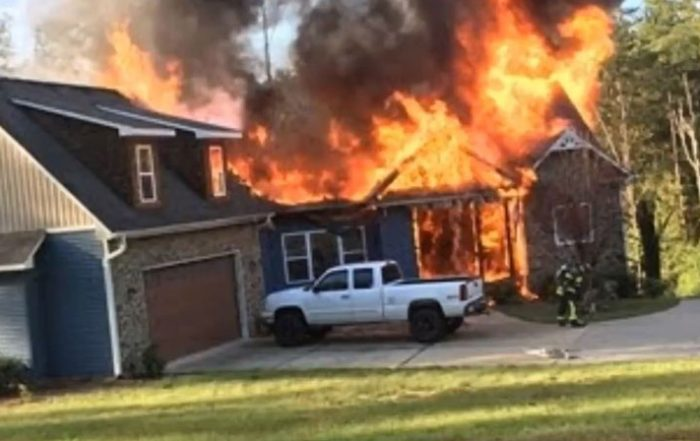A picture of a raging house fire